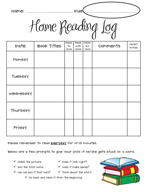 Printable Homework Logs  BesikEightyCo